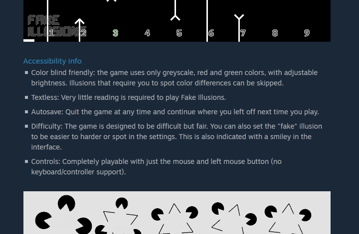 A screenshot of the game's store page with the following text: